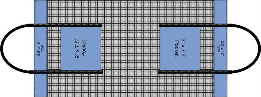 Diagram of strap placement on mesh for vinyl mesh tote bag